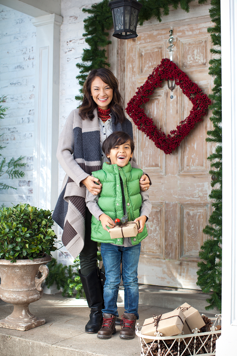 Mother with her son in front of their home, holiday, decorations, Asian mother, child, Christmas, lifestyle, catalog, advertising photographer, Nashville, Chicago, Atlanta