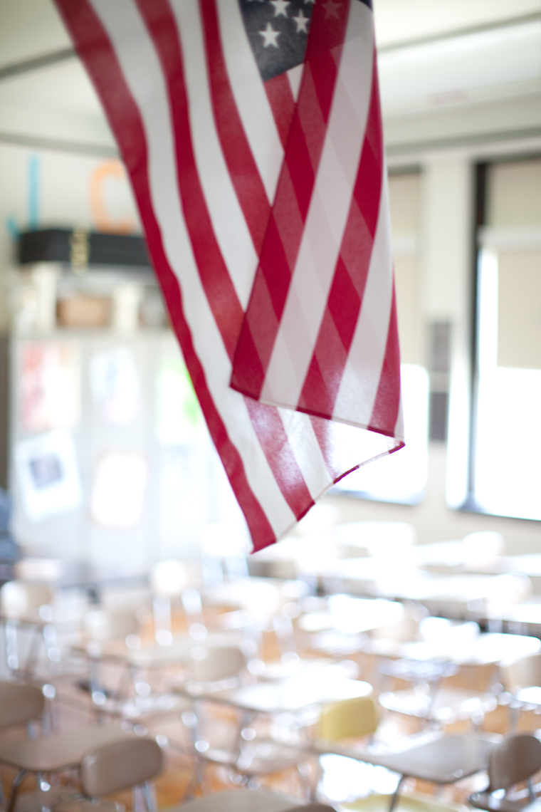 American Flag. High School Classroom in Nashville, Tennessee