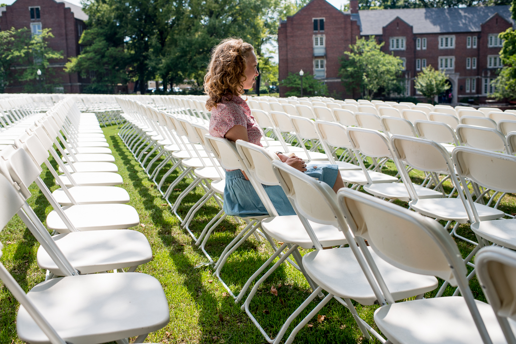 WSJ Money and Investing, student on Alumni Lawn, graduation, freshman orientation, campus of Vanderbilt University, Nashville, Tennessee