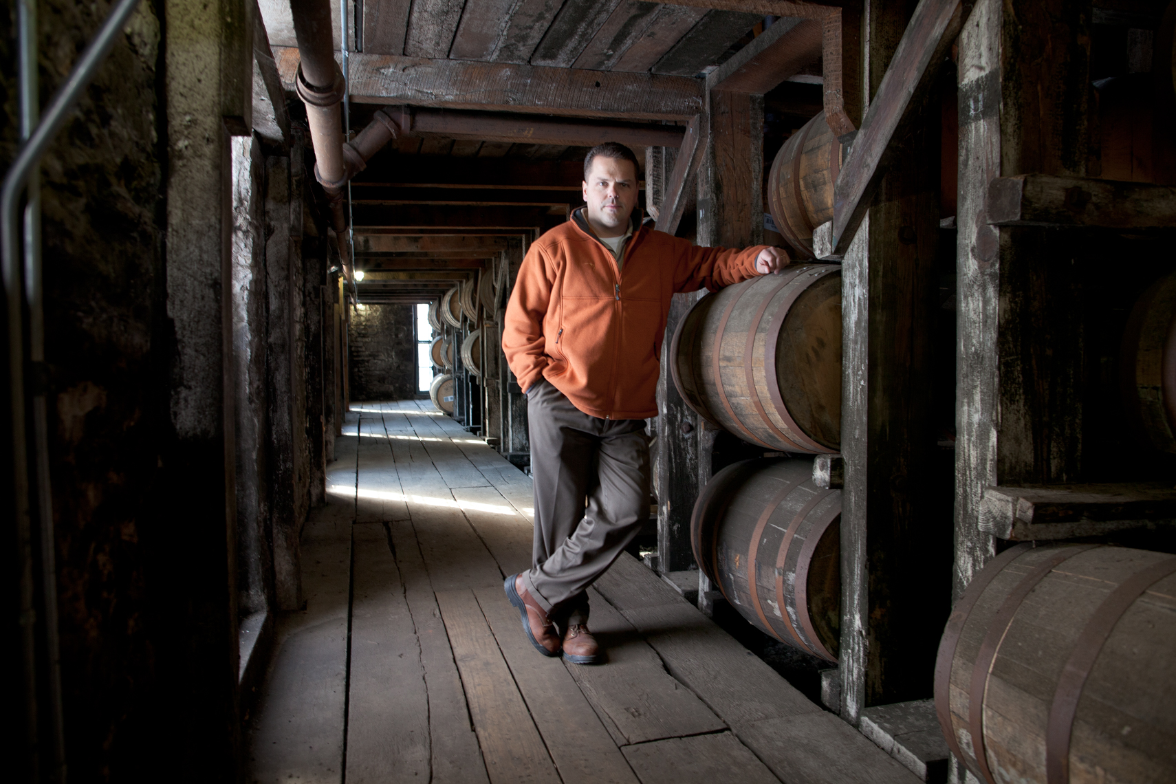 Buffalo Trace, Harlen Wheatly, Nashville portrait photographer, travel photographer, Kristina Krug, whiskey barrels, rick house, Southern Makers