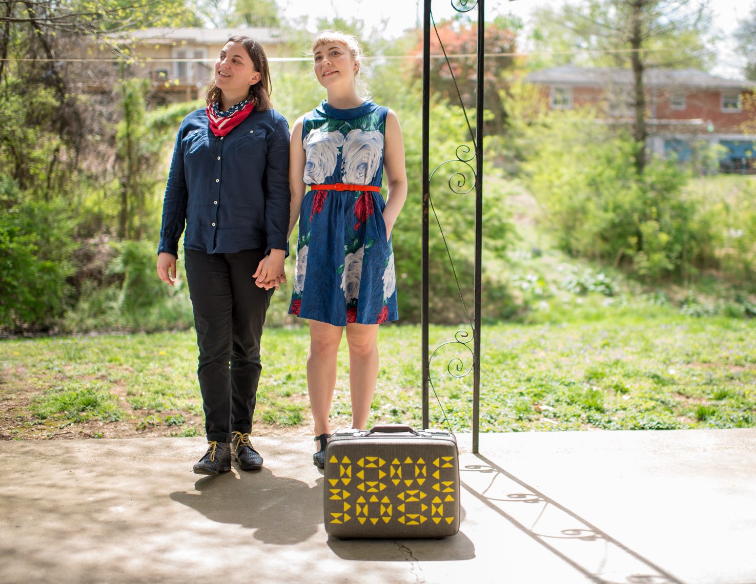 Charity & Michela, love, romance, couple, women, lesbian, gender identity, outdoor, portrait, suitcase, travel, porch, LGBT rights, gay marriage, relationship, reportage, Nashville editorial, photojournalist, portrait photographer, Kristina Krug