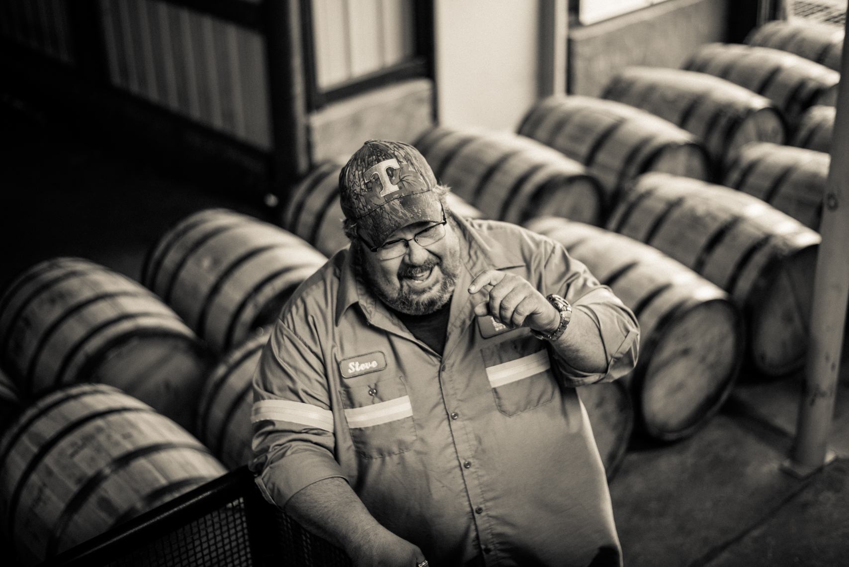 George Dickel Distillery - Tennessee Whiskey, barrels, laughing, worker, authentic, Nashville advertising photographer