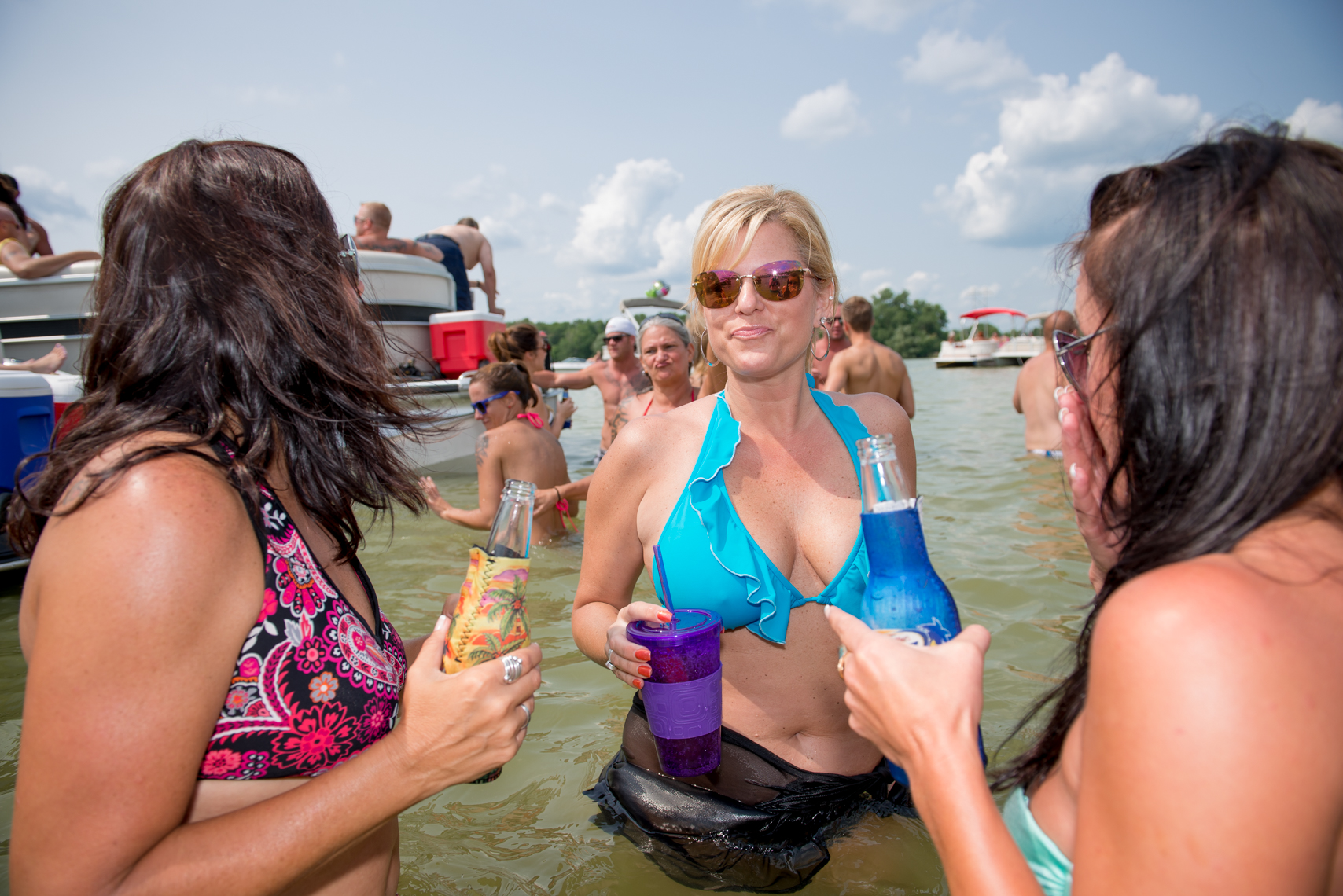 Young women, summer lake party, real people, laughing, lifestyle, smiling, real beauty, happy, plus size, swimming, swim, suit, bathing, confident, summer fun, lake party real people, liquor, travel, Madison, Chicago, Nashville advertising, beverage, life