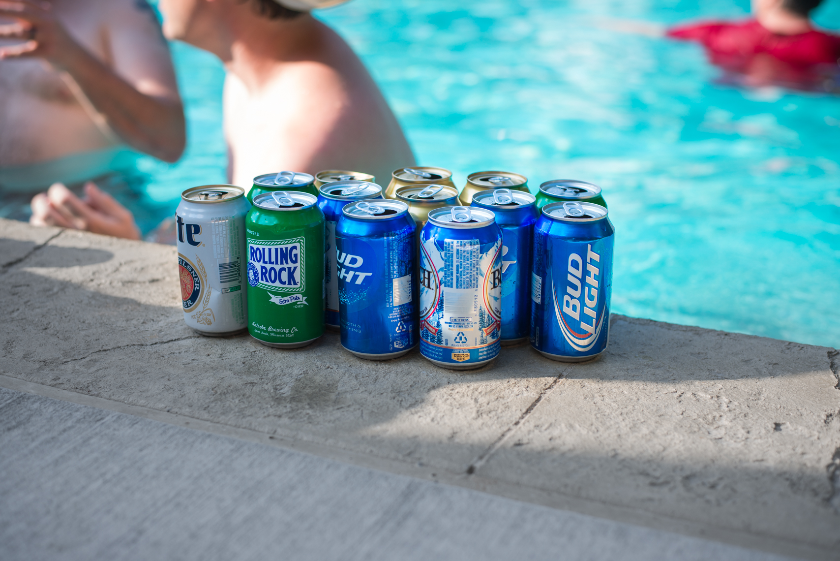 Rolling Rock, Busch, Miller Lite and Bud Light Beer Cans, Little Rock, Arkansas, Nashville food photographer, beverage lifestyle photographer