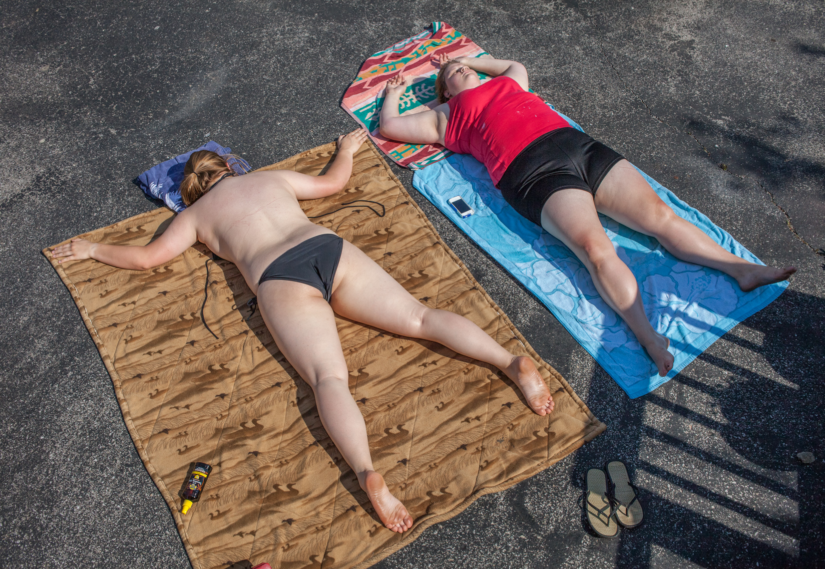 Lexington, Kentucky, sunbathers, pavement, americana, documentary, real, life, women, buxom, beauty, quirky, humor, fine art, women, owned, business, women in photography