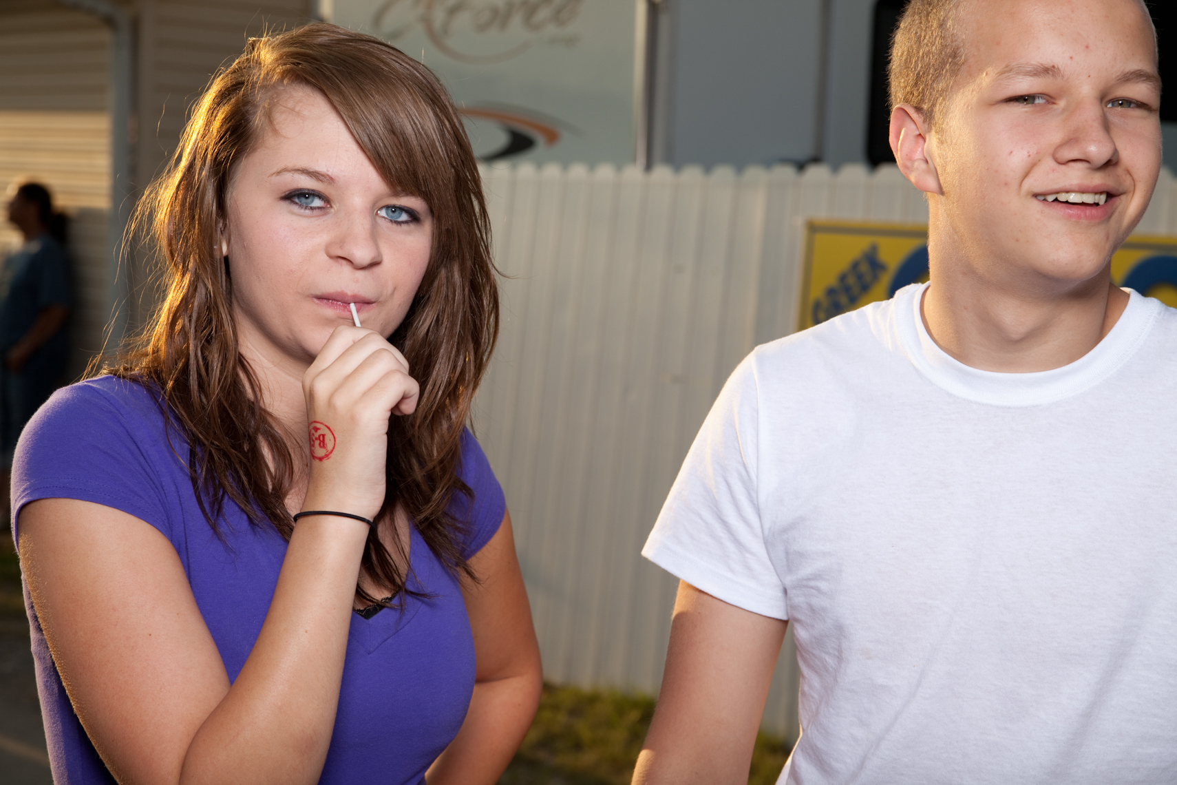 Young teen couple, Wilson County Fair, Lebanon, Tennessee, carnival, amusement park, rural south
